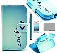 Coco Fun® patrón de corazón lindo estuche de cuero pu con protector de pantalla y lápiz para Samsung Galaxy Ace s7272 3 / s7275