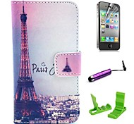 Signature Eiffel Tower Pattern PU Leather Case with Screen Protector and Stylus for iPhone 4/4S