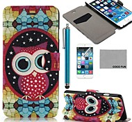 COCO FUN® Star Owl Pattern PU Leather Full Body Case for iPhone 6 6G 4.7 with Screen Protecter, Stand and Stylus