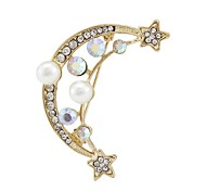 Fashion Pearl Gold Moon Boat Star Brooches For Women Random Color