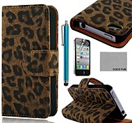COCO FUN® Black Leopard PU Leather Full Body hoesje with Screen Protector, Stand and Stylus for iPhone 4/4S