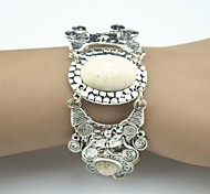 Toonykelly Vintage 18cm Women's Antique Silver Natural Beige Turquoise Stone Bracelet(1 Pc)