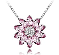 Fashionable Short Necklace Plated With 18K True Platinum Light Amethyst Crystallized Austrian Crystal Rhinestone
