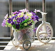 "8""H Modern Multicolor Daisies in White Basket Bike"