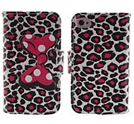 Leopard Grain Design Bow PU Leather Case with Card Slot and Stand for iPhone 4/4s