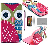 COCO FUN® Colorful Owl Pattern PU Leather Full Body Case with Screen Protector, Stylus and Stand for Motorala Moto G