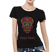 Personalized T-shirts Red Skull Pattern Women's Cotton Short Sleeves