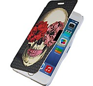 Flowers Skull Magnetic Flip Full Body Case with Hole for iPhone 6