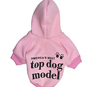 Cat / Dog Hoodie Pink Dog Clothes Winter Letter & Number