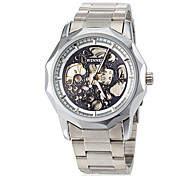 Men's Hollow Engraving Silver Steel Band Automatic Self Wind Wrist Watch (Assorted Colors)