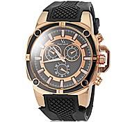Men's Stylish Gold Case Silicone Band Quartz Wrist Watch (Assorted Colors)
