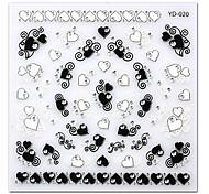 5шт черные наклейки белого любовь высшего сорта ногтей ярд-20