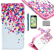 COCO FUN® Colorful Dots Pattern PU Leather Full Body Case with Screen Protector for iPhone 5C