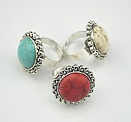 Toonykelly Vintage Antique Silver Natural Turquoise Stone Adjustable Ring Free Size(1pcs)