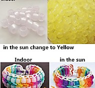 100PCS Yellow UV Changing Pony Beads Rainbow Color Loom Rubber Bands Bracelet DIY Accessories