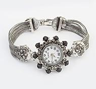 Women's Flower Round Dial Alloy Band Fashion Bracelet Watch