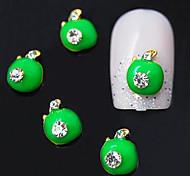 10pcs  Green Color Fruit 3D Alloy Rhinestone Nail Art Decoration