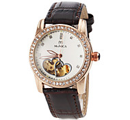 Women's Automatic Self Wind Hollow Heart Dial Golden Case Leather Band Wrist Watch (Assorted Colors)