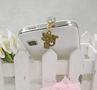 Fashion Delicate Cat Lovers Shape Alloy Diamante Anti-dust Plug for Universal Mobile Phone