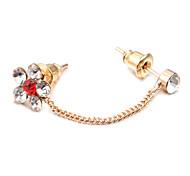 Fashion Dual Ear Holes Flower Multicolor Copper Stud Earrings (1 Pair)(More Color)