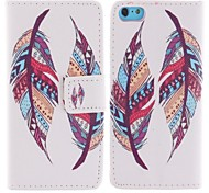 Colored Feather Patterns PU Leather Full Body Case with Stand and Card Slot for iPhone 5C