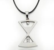 cordón negro de cuero de aleación de zinc de reloj de arena colgante de los hombres