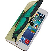 Green Butterfly Magnetic Flip Full Body Case with Hole for iPhone 6