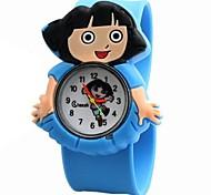rodada relógio de silicone com ligação de banda quartzo infantil (cores sortidas)