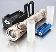 LED Flashlights / Handheld Flashlights LED 5 Mode 2400 Lumens Adjustable Focus / Waterproof / Rechargeable / Nonslip grip 18650