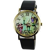 Women's Vase Pattern PU Band Quartz Casual Watch(Assorted Colors)