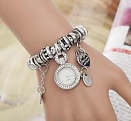 Women's Round Diamante Case Fabric Band Bracelet Watch(Assorted Colors)