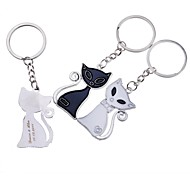 Personalized Engraving Fox Metal  Couple Keychain