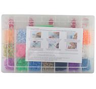 Kit di moda telaio color arcobaleno per il braccialetto diy (clip 2100pcs bande + 4 + 1 pacchetto bordo telaio + 3 gancio)