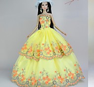 Barbie Doll Autumn  Aathering Yellow Floor-length Dress