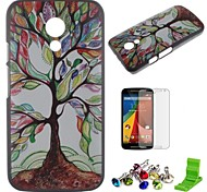 Colorful Tree Pattern PC Hard Case with Screen Protector,Dust Plug and Stand for Motorola Moto G2/XT1063