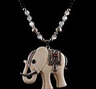 Z&X®  Vintage Ivory Elephant Pendant Sweater Long Necklace