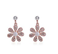 Fashion Zircon Pearl Flower Earring(Assorted Color)