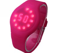 Women's Simple LED Red Light Silicone Band Wrist Watch  (Assorted Colors)