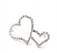Full Diamond Romantic Heart to Heart Hairpin