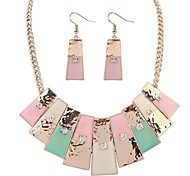 Women's Rhinestone Squares Cluster Bib Statement Necklace Earrings Set