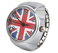 Women's UK Flag Pattern Silver Alloy Quartz Ring Watch Cool Watches Unique Watches