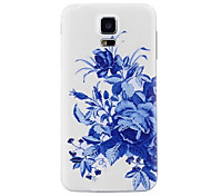 For Samsung Galaxy S5 i9600 - Replacement Part Blue and White Porcelain Pattern Bendable PC Hard Housing Case