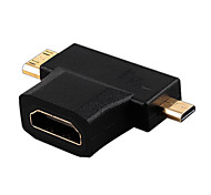 HDMI v1.4 do sexo feminino para masculino mini-HDMI + micro conversor HDMI macho adaptador HDMI switch
