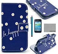 COCO FUN® Daisy In Blue Pattern PU Leather Case with Screen Protector and Stylus for Samsung Galaxy Core GT-I8260 I8262