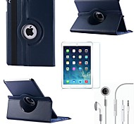 Litchi Rotating PU Leather with Protective Film and Headset for iPad Air 2/iPad 6  (Assorted Colors)