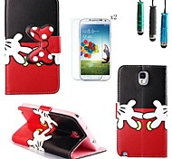Red Gloves Bow Pattern PU Leather with Touch Pen and Protective Film 2 Pcs for Samsung Galaxy Note 3