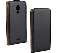 Flip-Open Solid Color Pattern Genuine Leather Full Body Case for Wiko Wax