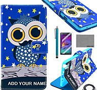 COCO FUN® Pink Cute Owl Pattern PU Leather Case with Screen Protector, Stylus and Cable for Samsung Galaxy Note 4