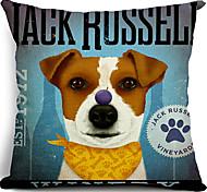 jack russel cachorro algodão / linho fronha decorativo