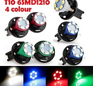 6PCS Instrument Panel Dashboard Light Bulb DC12V 0.2W T10 6LED 1210SMD Green Blue Red White+ 6PCS Socket